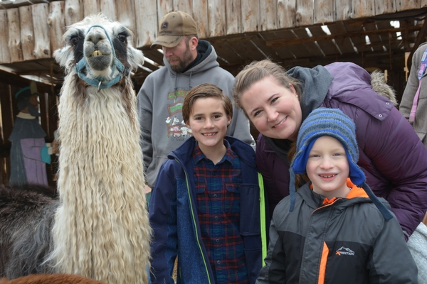 Family with young children posing with a llama