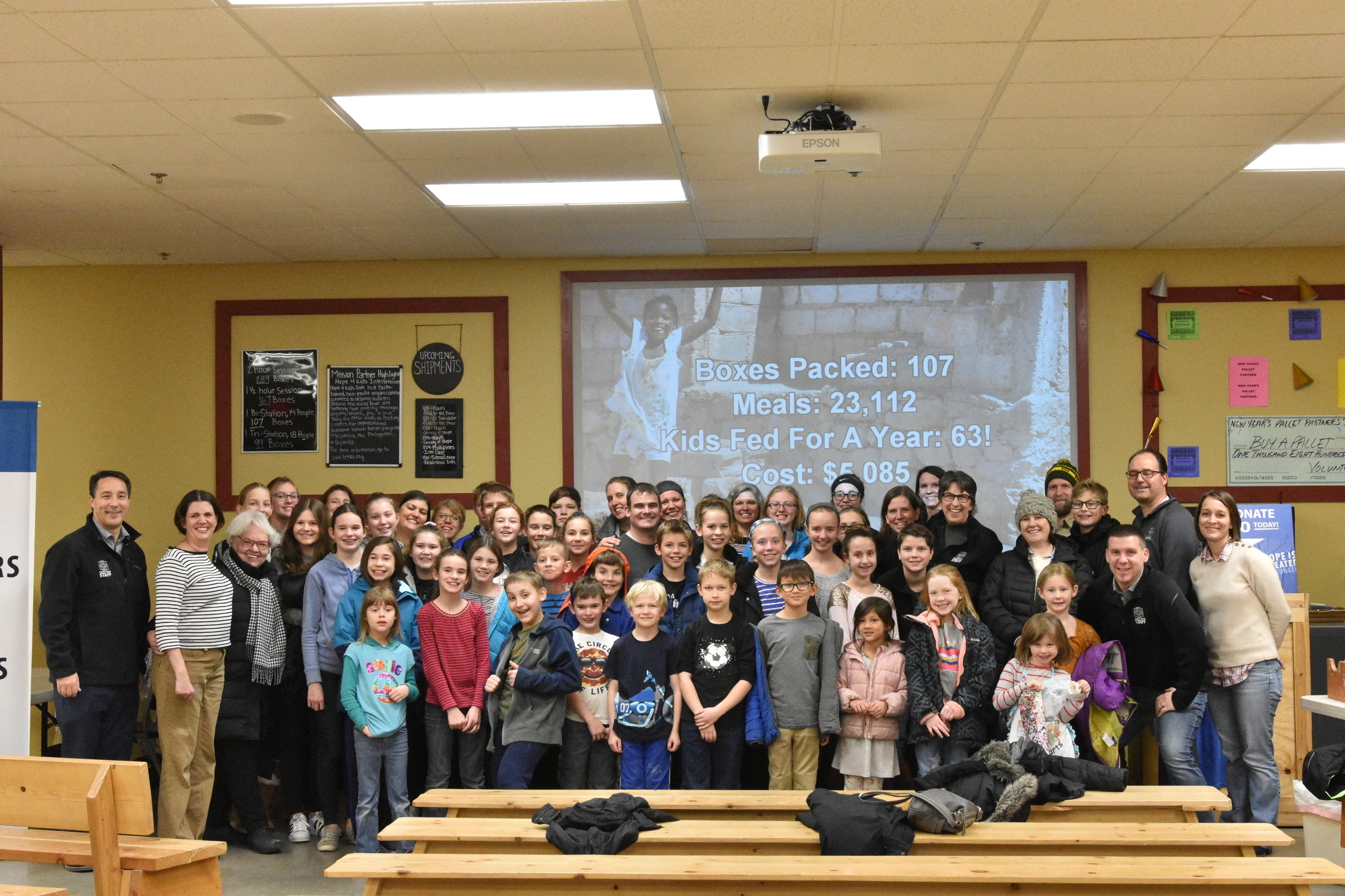 About 30 Cross View members at Feed My Starving Children