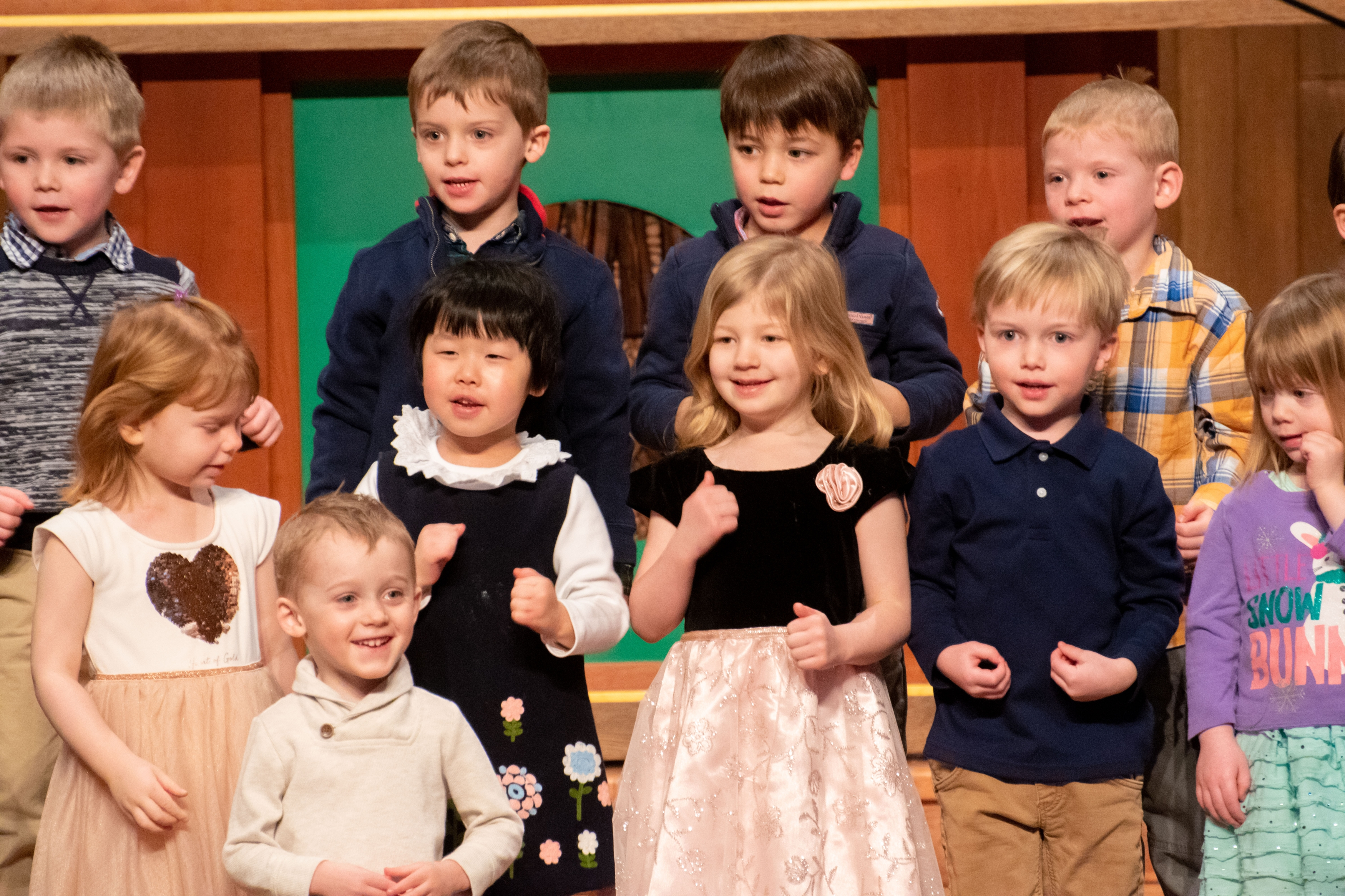 A group of ECC students sings at a Sunday morning service