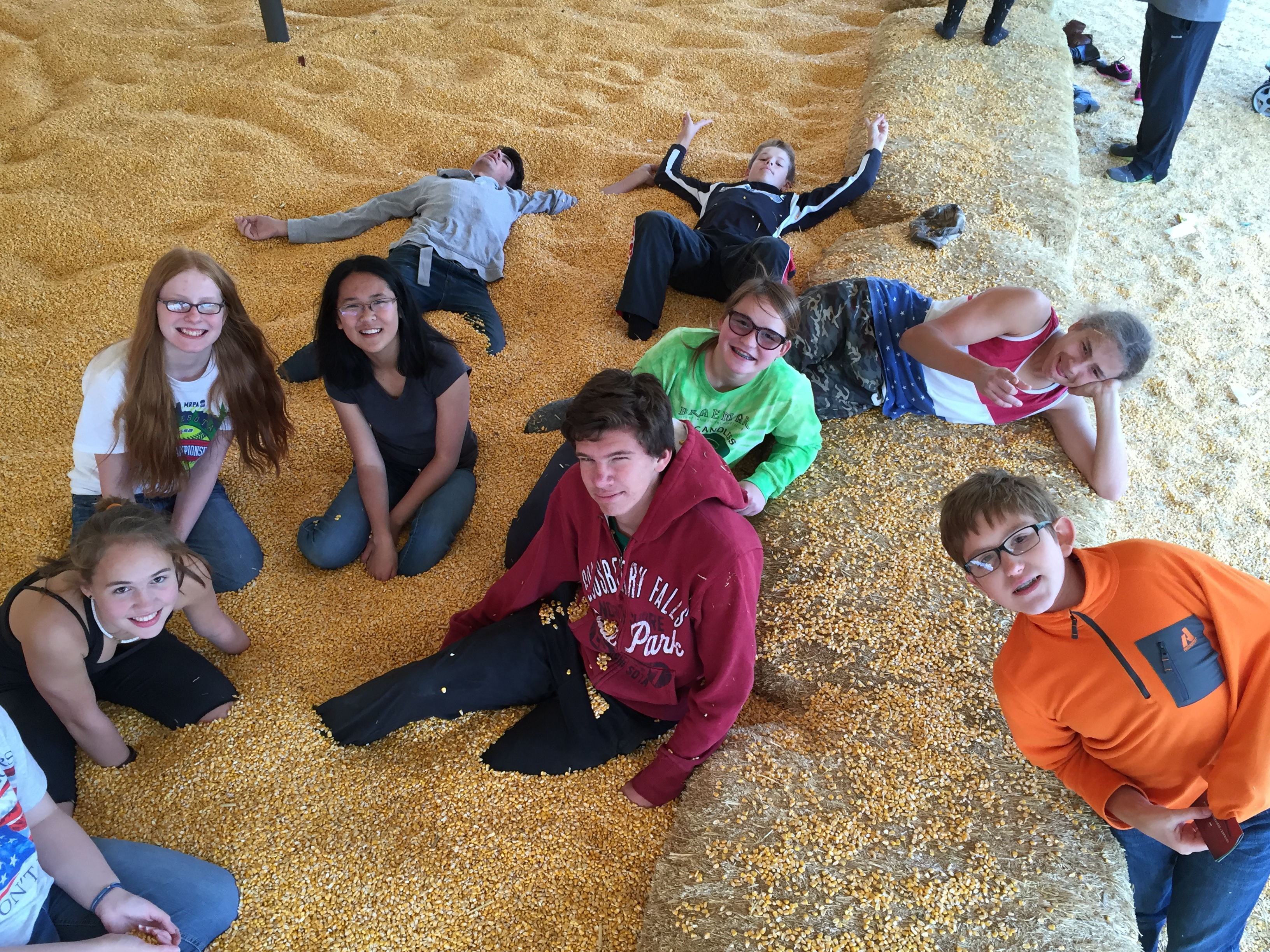 Group of youth at Severs Corn Maze.